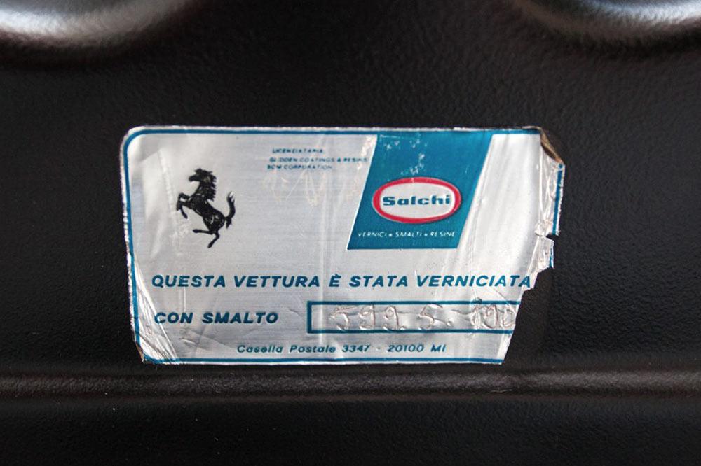 Late Ferrai 308 Salchi paint label